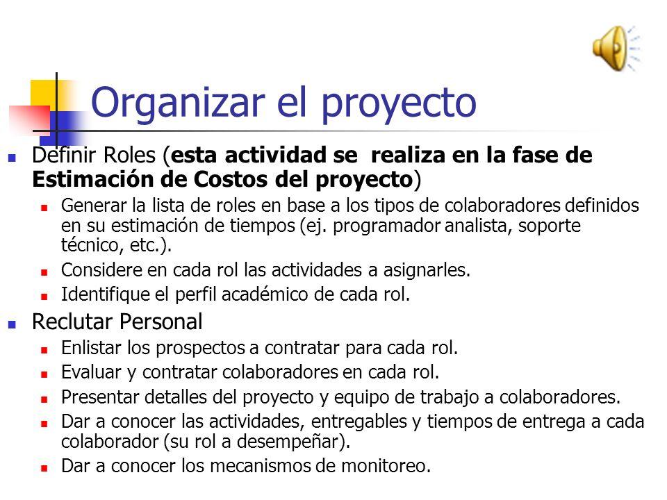 Organizar el proyecto Una vez que nuestra propuesta de proyecto ha sido aceptada, es preciso iniciar el proceso de organización, esto basado en tres a