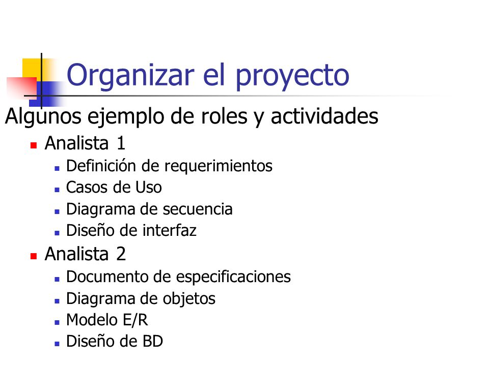Organizar el proyecto ROLESACTIVIDADESPERFILCOLABORADORDías Soporte Técnico (A) Soporte Técnico (B) Capacitador (A, B) Instalar equipo cómputo y redes