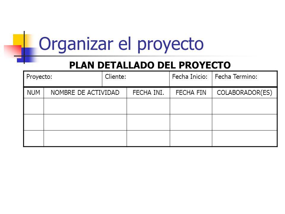 Organizar el proyecto Plan Detallado del Proyecto Documento para: Una referencia rápida de los responsables de cada actividad Fechas de inicio y fin d