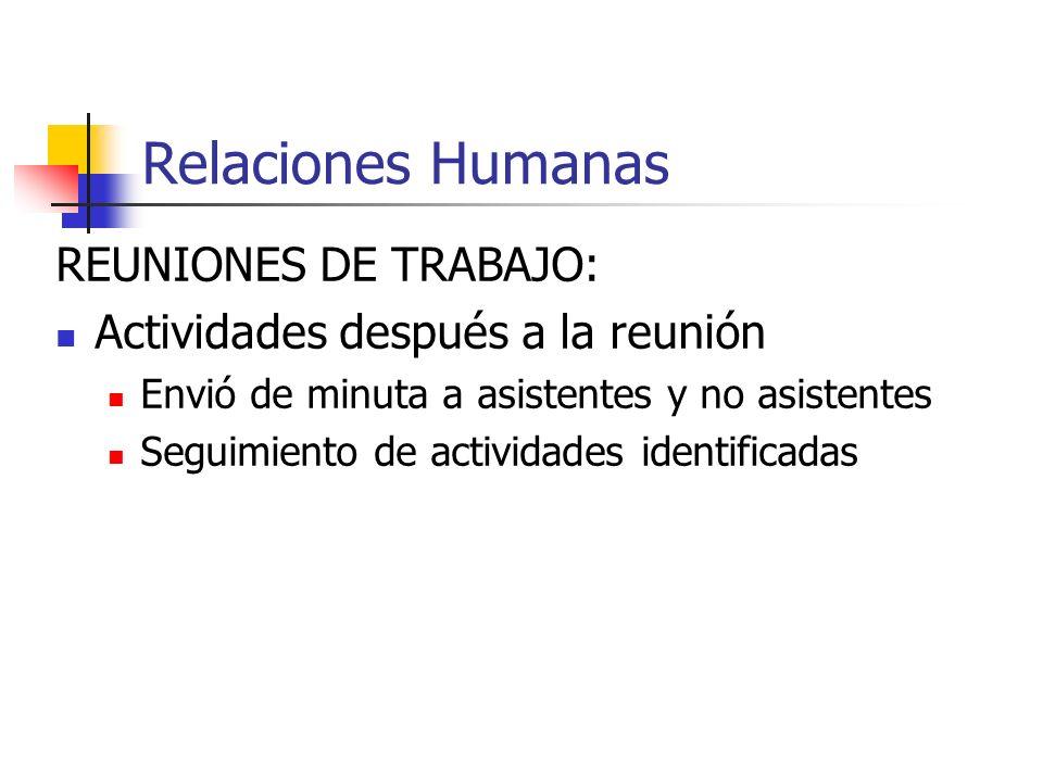 Relaciones Humanas REUNIONES DE TRABAJO: Actividades después a la reunión Envió de minuta a asistentes y no asistentes Seguimiento de actividades iden