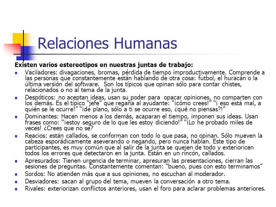 Relaciones Humanas Existen varios estereotipos en nuestras juntas de trabajo: Vaciladores: divagaciones, bromas, pérdida de tiempo improductivamente.