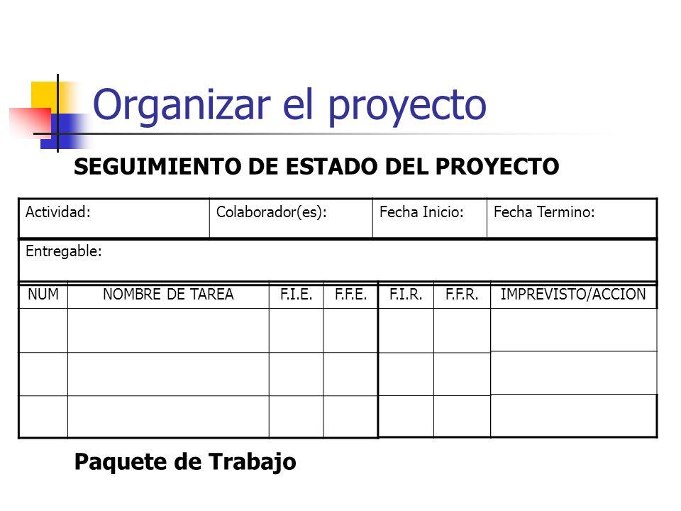 Organizar el proyecto Actividad:Colaborador(es):Fecha Inicio:Fecha Termino: F.I.R.F.F.R.