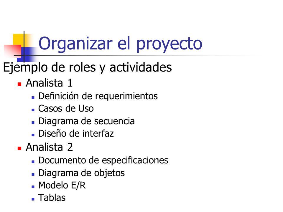 Organizar el proyecto Ejemplo de roles y actividades Analista 1 Definición de requerimientos Casos de Uso Diagrama de secuencia Diseño de interfaz Analista 2 Documento de especificaciones Diagrama de objetos Modelo E/R Tablas