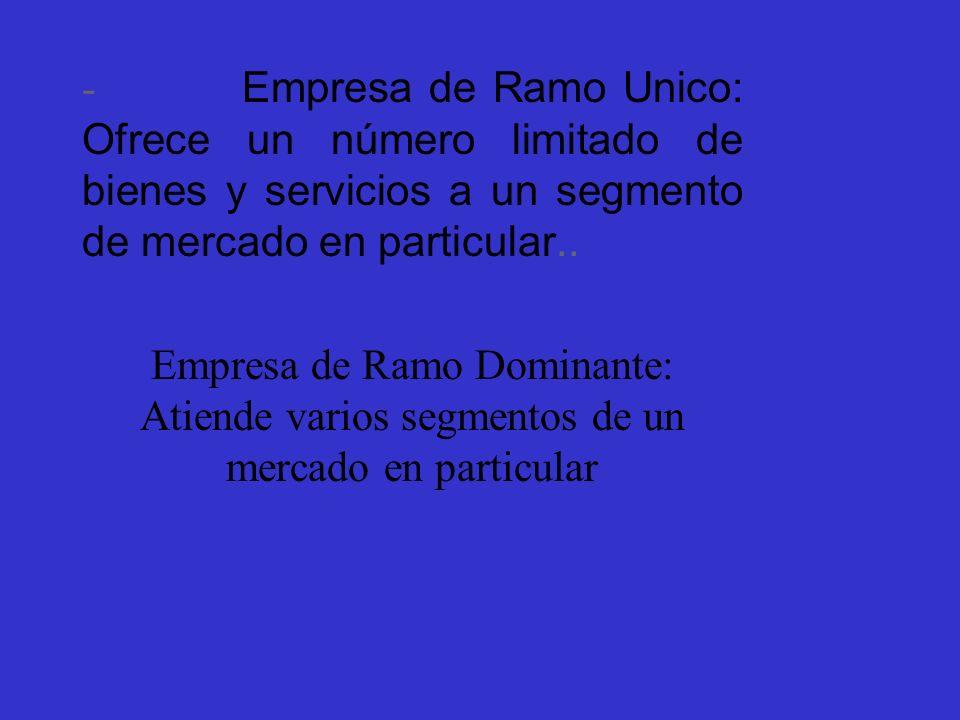 - Empresa de Ramo Unico: Ofrece un número limitado de bienes y servicios a un segmento de mercado en particular.. Empresa de Ramo Dominante: Atiende v