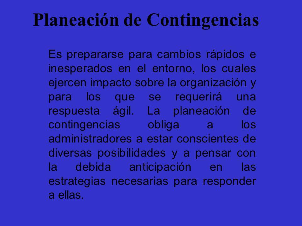 Planeación de Contingencias Es prepararse para cambios rápidos e inesperados en el entorno, los cuales ejercen impacto sobre la organización y para lo