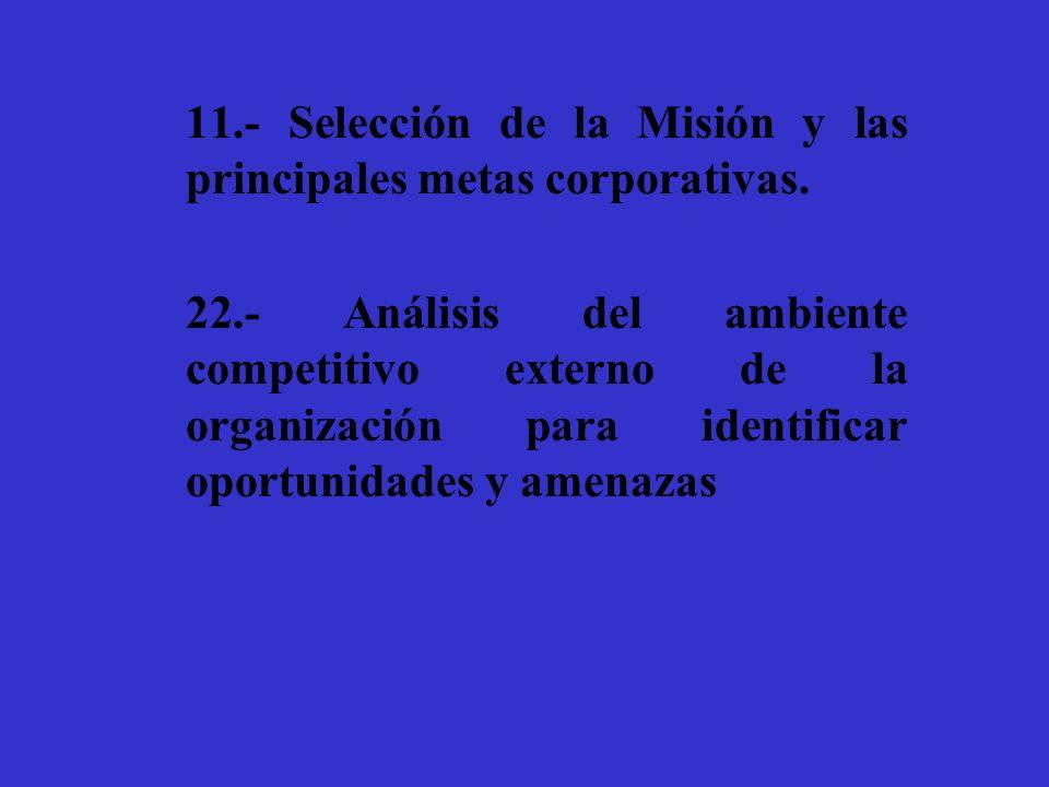 11.- Selección de la Misión y las principales metas corporativas. 22.- Análisis del ambiente competitivo externo de la organización para identificar o