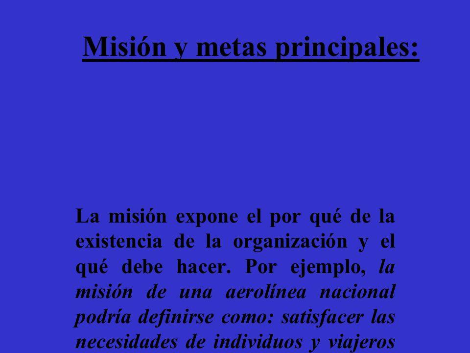 Misión y metas principales: La misión expone el por qué de la existencia de la organización y el qué debe hacer. Por ejemplo, la misión de una aerolín