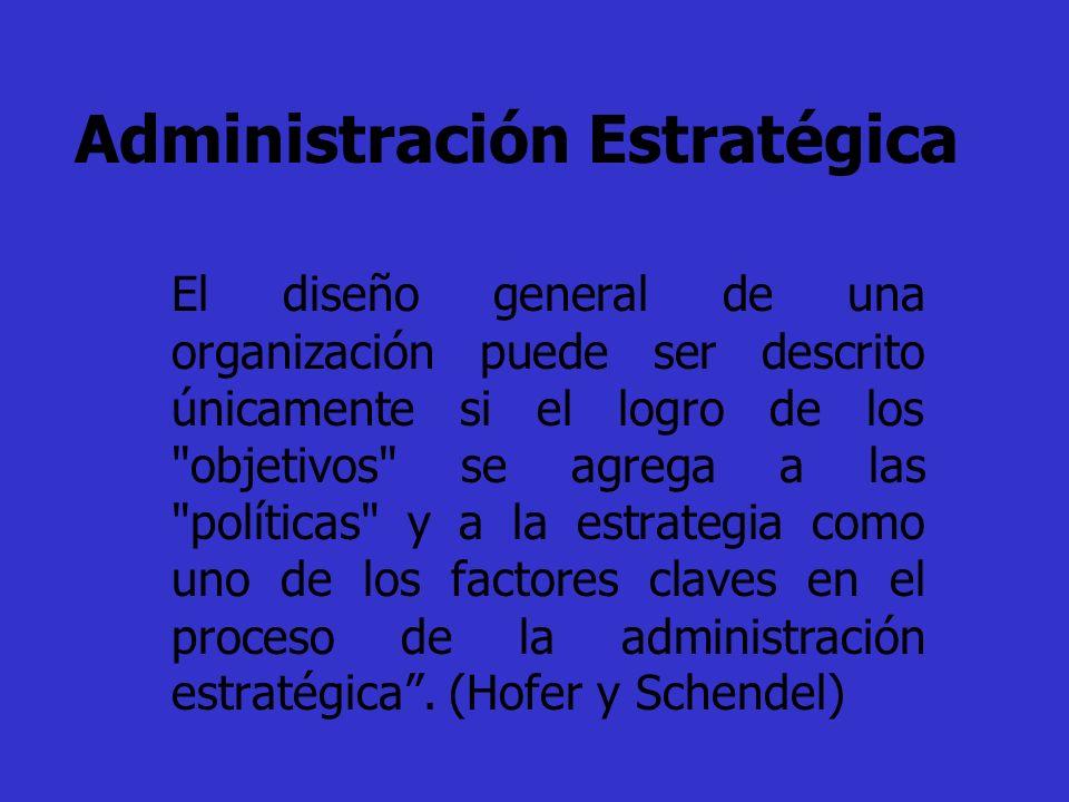 Administración Estratégica El diseño general de una organización puede ser descrito únicamente si el logro de los