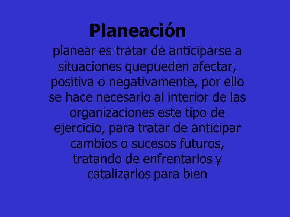 Planeación planear es tratar de anticiparse a situaciones quepueden afectar, positiva o negativamente, por ello se hace necesario al interior de las o