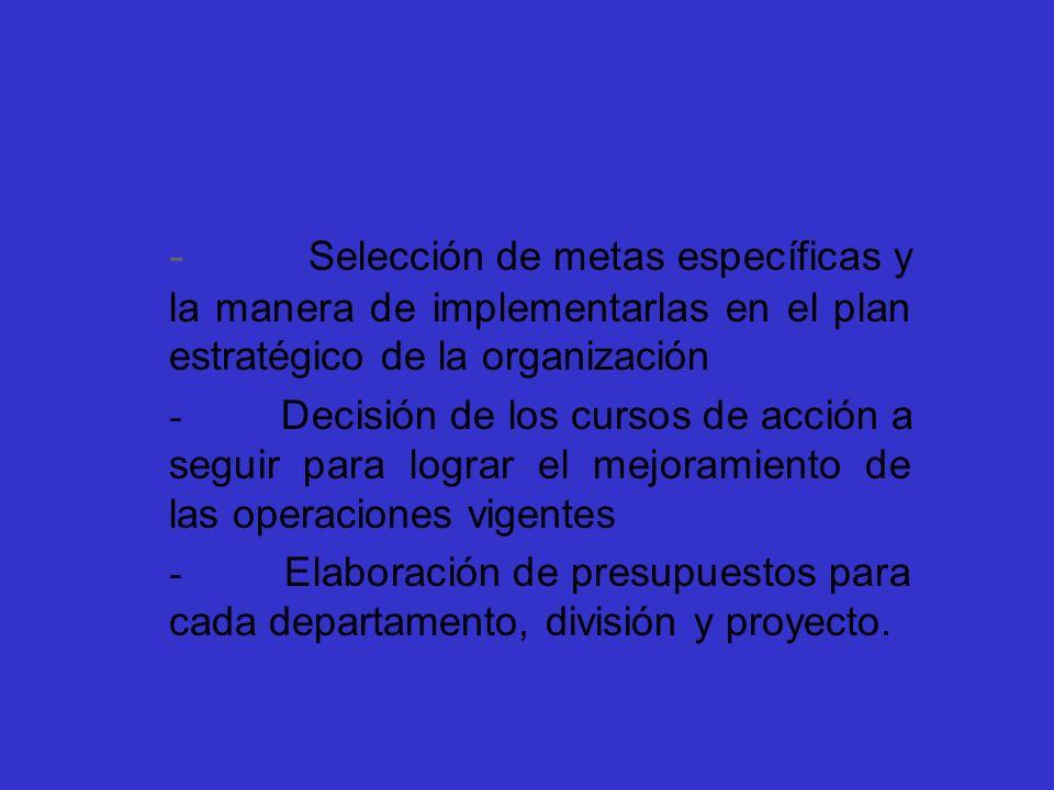 - Selección de metas específicas y la manera de implementarlas en el plan estratégico de la organización - Decisión de los cursos de acción a seguir p