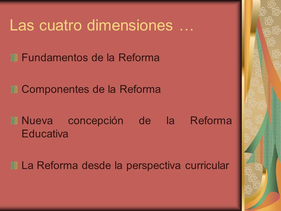 Las cuatro dimensiones … Fundamentos de la Reforma Componentes de la Reforma Nueva concepción de la Reforma Educativa La Reforma desde la perspectiva
