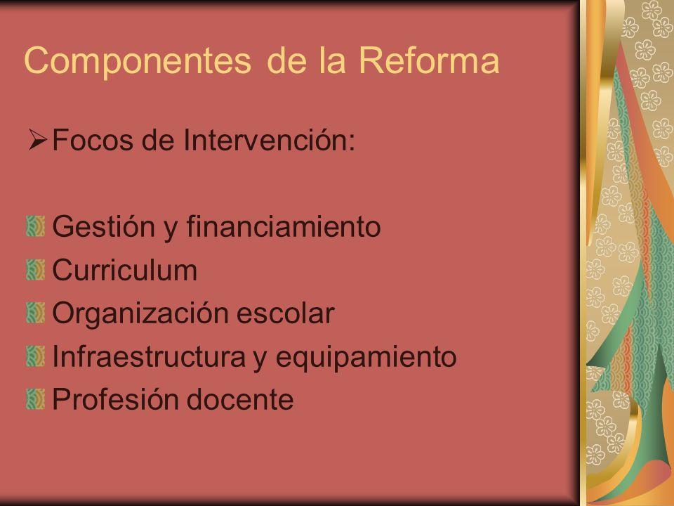 Componentes de la Reforma Focos de Intervención: Gestión y financiamiento Curriculum Organización escolar Infraestructura y equipamiento Profesión doc