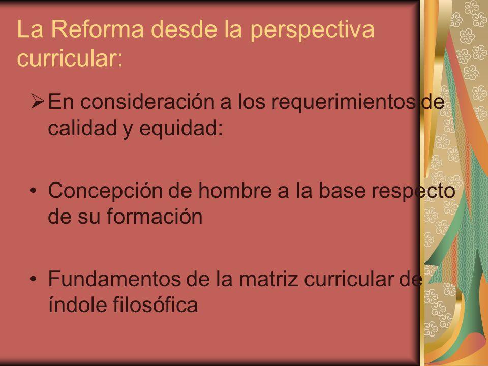 La Reforma desde la perspectiva curricular: En consideración a los requerimientos de calidad y equidad: Concepción de hombre a la base respecto de su