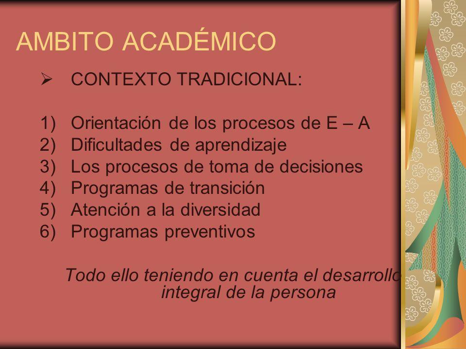 AMBITO ACADÉMICO CONTEXTO TRADICIONAL: 1)Orientación de los procesos de E – A 2)Dificultades de aprendizaje 3)Los procesos de toma de decisiones 4)Pro