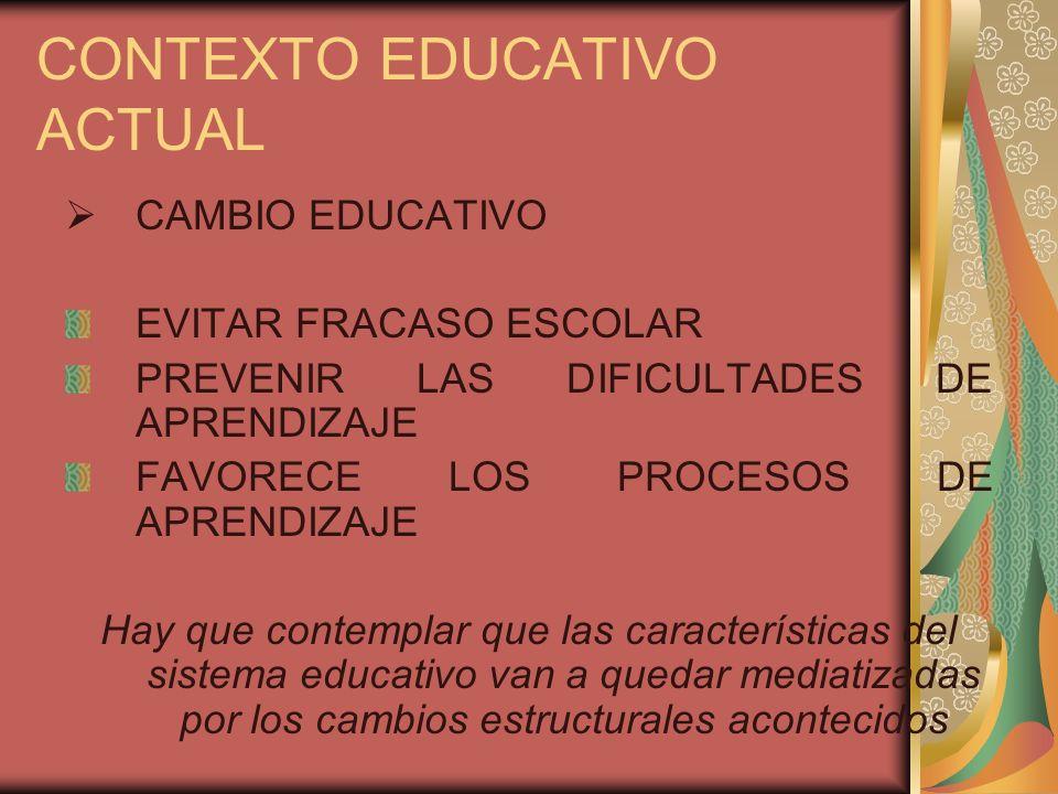 CONTEXTO EDUCATIVO ACTUAL CAMBIO EDUCATIVO EVITAR FRACASO ESCOLAR PREVENIR LAS DIFICULTADES DE APRENDIZAJE FAVORECE LOS PROCESOS DE APRENDIZAJE Hay qu