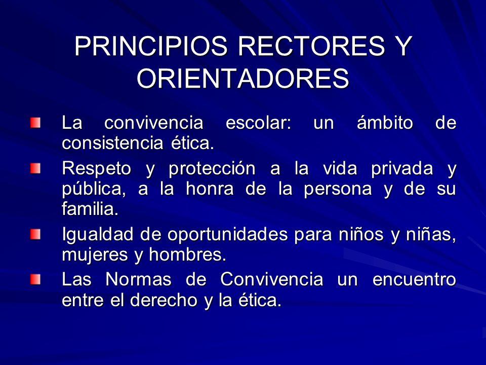 PRINCIPIOS RECTORES Y ORIENTADORES La convivencia escolar: un ámbito de consistencia ética. Respeto y protección a la vida privada y pública, a la hon