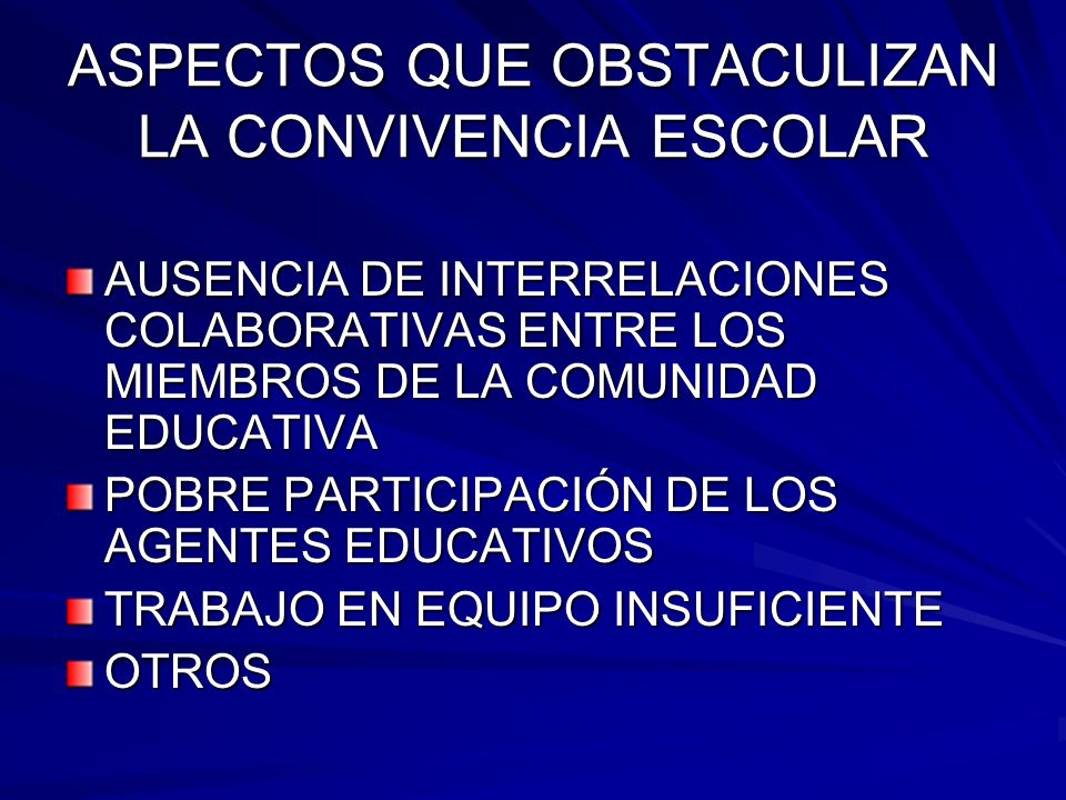 ASPECTOS QUE OBSTACULIZAN LA CONVIVENCIA ESCOLAR AUSENCIA DE INTERRELACIONES COLABORATIVAS ENTRE LOS MIEMBROS DE LA COMUNIDAD EDUCATIVA POBRE PARTICIP