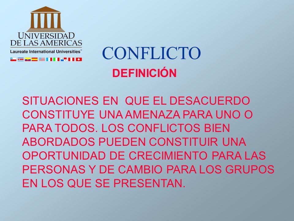 DEFINICIÓN SITUACIONES EN QUE EL DESACUERDO CONSTITUYE UNA AMENAZA PARA UNO O PARA TODOS. LOS CONFLICTOS BIEN ABORDADOS PUEDEN CONSTITUIR UNA OPORTUNI