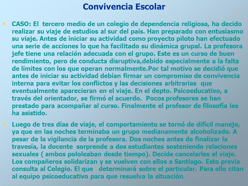Convivencia Escolar CASO: El tercero medio de un colegio de dependencia religiosa, ha decido realizar su viaje de estudios al sur del país. Han prepar