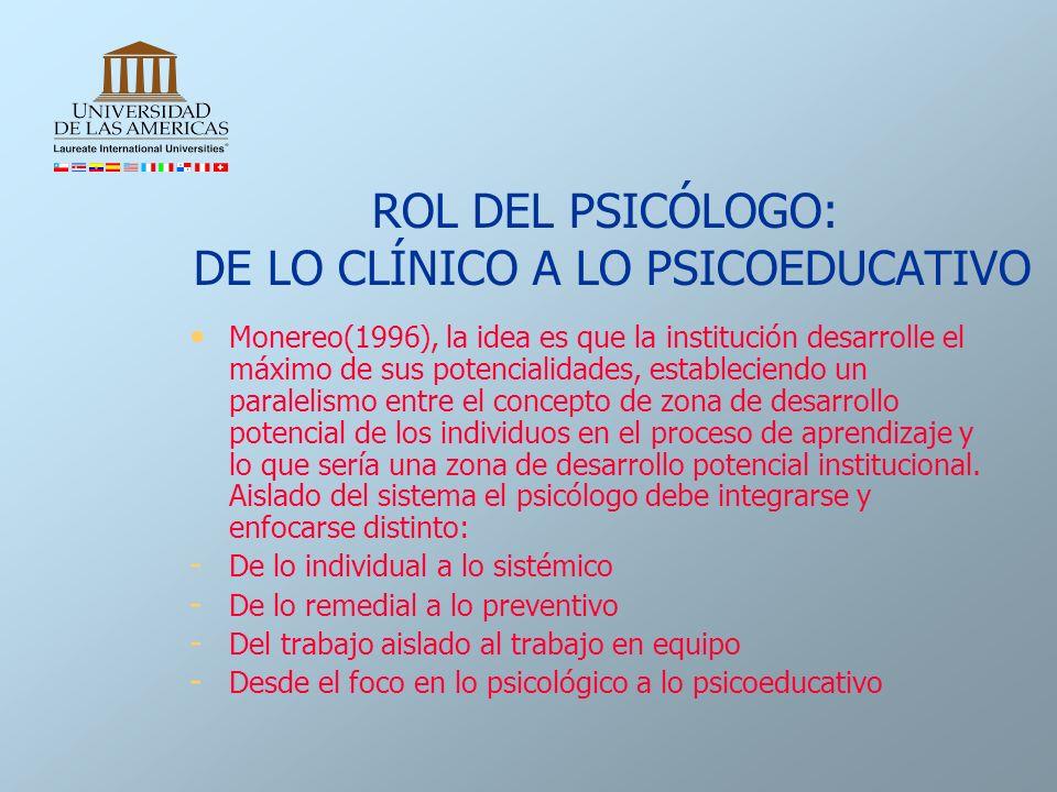 ROL DEL PSICÓLOGO: DE LO CLÍNICO A LO PSICOEDUCATIVO Monereo(1996), la idea es que la institución desarrolle el máximo de sus potencialidades, estable