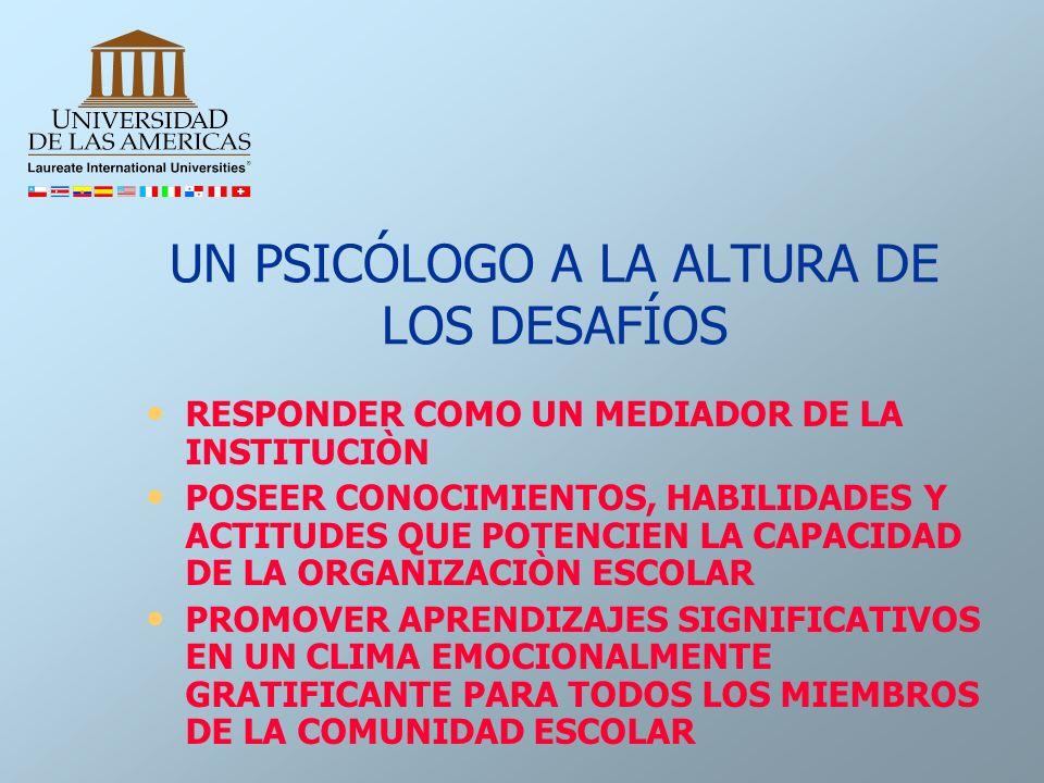 UN PSICÓLOGO A LA ALTURA DE LOS DESAFÍOS RESPONDER COMO UN MEDIADOR DE LA INSTITUCIÒN POSEER CONOCIMIENTOS, HABILIDADES Y ACTITUDES QUE POTENCIEN LA C