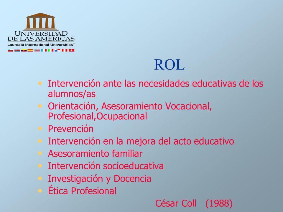 ROL Intervención ante las necesidades educativas de los alumnos/as Orientación, Asesoramiento Vocacional, Profesional,Ocupacional Prevención Intervenc