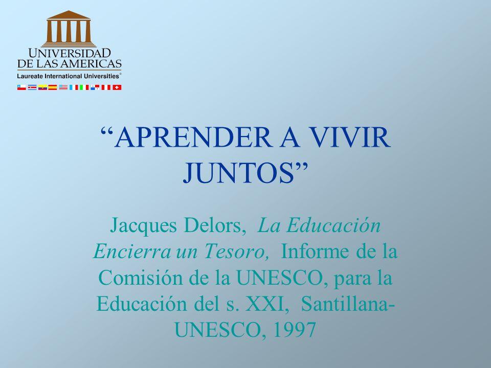 APRENDER A VIVIR JUNTOS Jacques Delors, La Educación Encierra un Tesoro, Informe de la Comisión de la UNESCO, para la Educación del s. XXI, Santillana