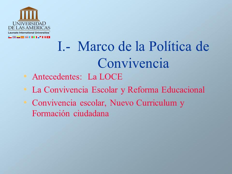 I.- Marco de la Política de Convivencia Antecedentes: La LOCE La Convivencia Escolar y Reforma Educacional Convivencia escolar, Nuevo Curriculum y For