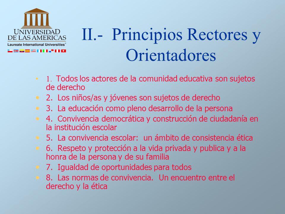II.- Principios Rectores y Orientadores 1. Todos los actores de la comunidad educativa son sujetos de derecho 2. Los niños/as y jóvenes son sujetos de