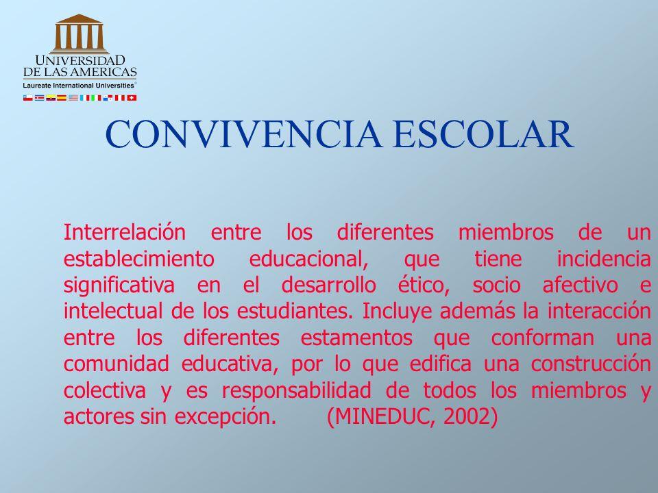Interrelación entre los diferentes miembros de un establecimiento educacional, que tiene incidencia significativa en el desarrollo ético, socio afecti