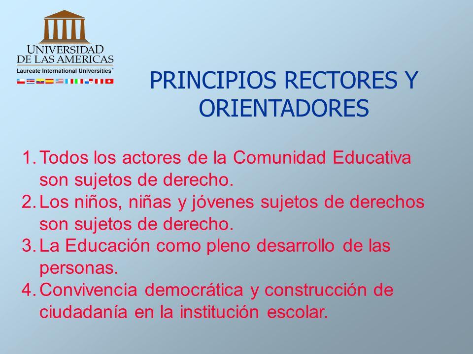 1.Todos los actores de la Comunidad Educativa son sujetos de derecho. 2.Los niños, niñas y jóvenes sujetos de derechos son sujetos de derecho. 3.La Ed