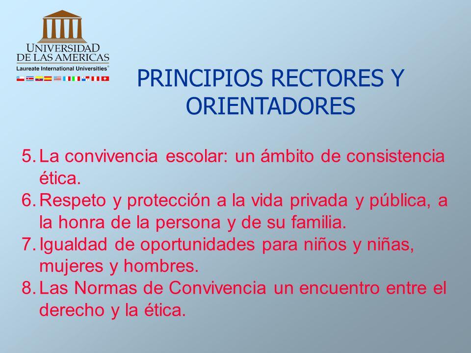 5.La convivencia escolar: un ámbito de consistencia ética. 6.Respeto y protección a la vida privada y pública, a la honra de la persona y de su famili
