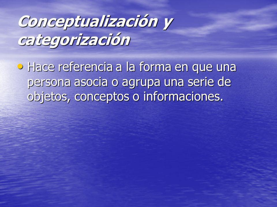 Conceptualización y categorización Hace referencia a la forma en que una persona asocia o agrupa una serie de objetos, conceptos o informaciones. Hace