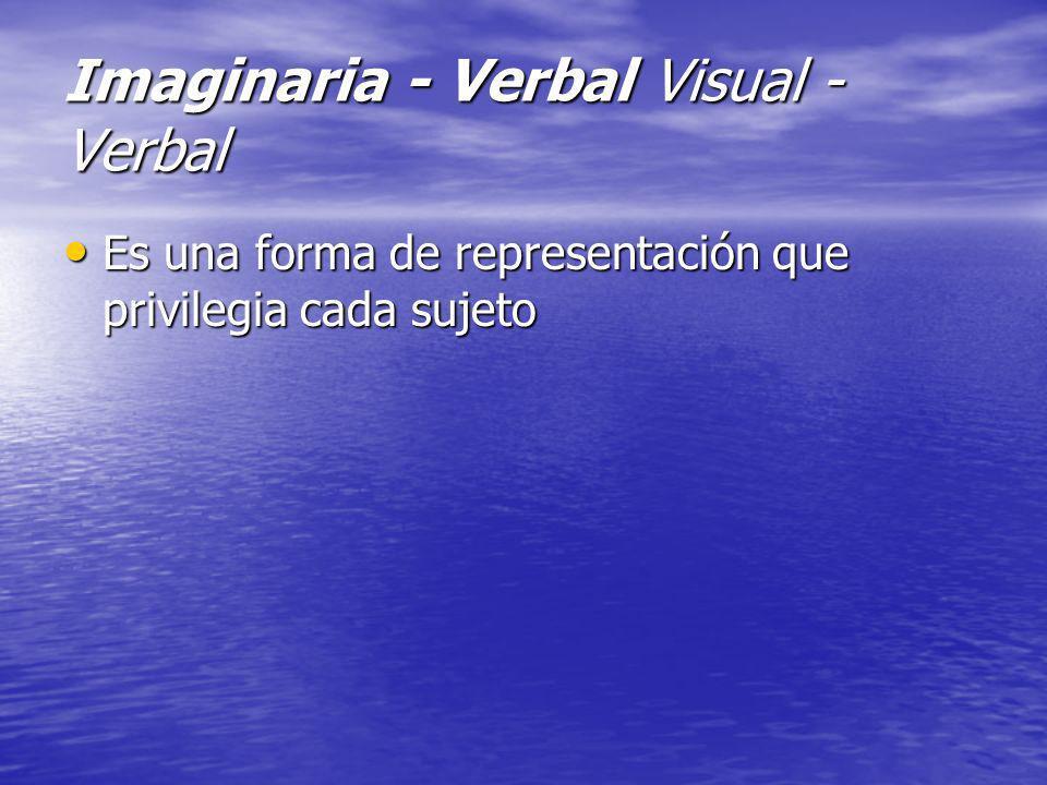 Imaginaria - Verbal Visual - Verbal Es una forma de representación que privilegia cada sujeto Es una forma de representación que privilegia cada sujet