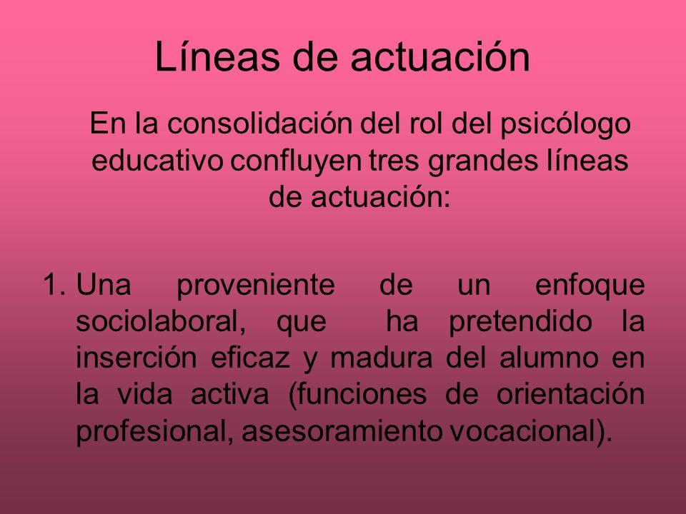 Líneas de actuación En la consolidación del rol del psicólogo educativo confluyen tres grandes líneas de actuación: 1.Una proveniente de un enfoque so