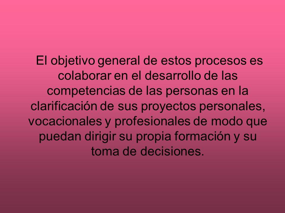 El objetivo general de estos procesos es colaborar en el desarrollo de las competencias de las personas en la clarificación de sus proyectos personale