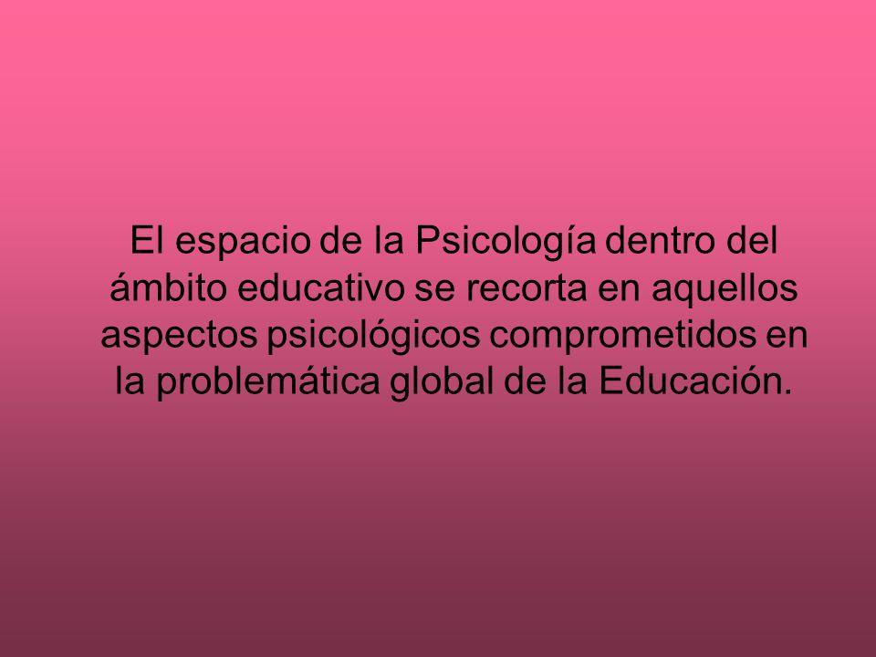 El espacio de la Psicología dentro del ámbito educativo se recorta en aquellos aspectos psicológicos comprometidos en la problemática global de la Edu