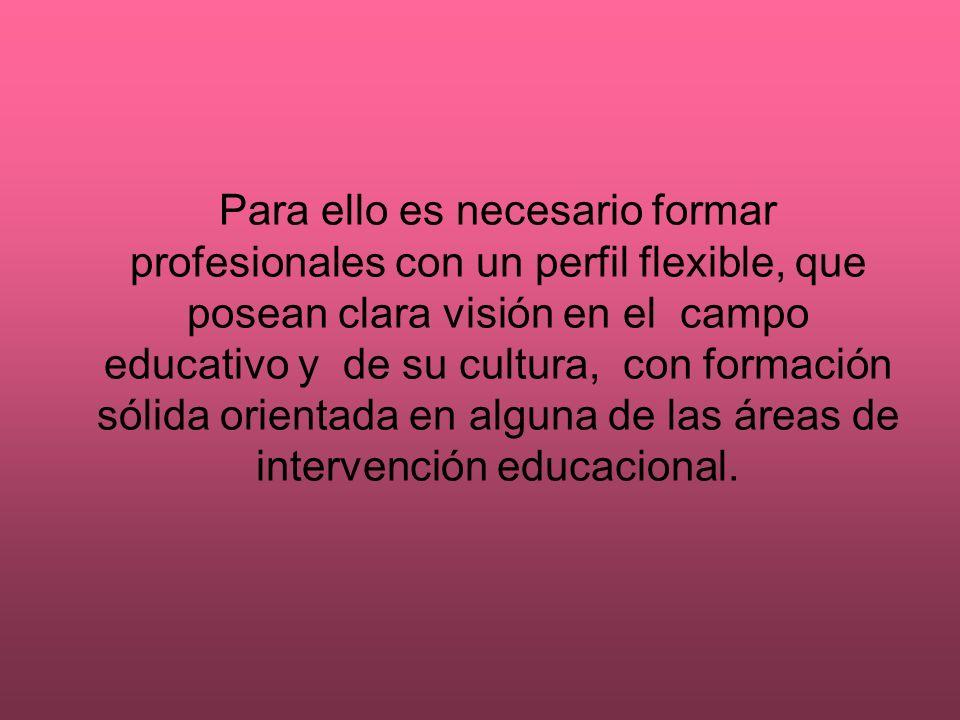 Para ello es necesario formar profesionales con un perfil flexible, que posean clara visión en el campo educativo y de su cultura, con formación sólid