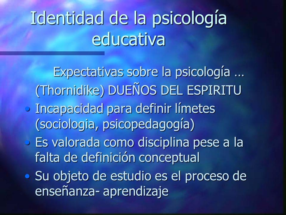 Identidad de la psicología educativa Expectativas sobre la psicología … (Thornidike) DUEÑOS DEL ESPIRITU Incapacidad para definir límetes (sociologia,