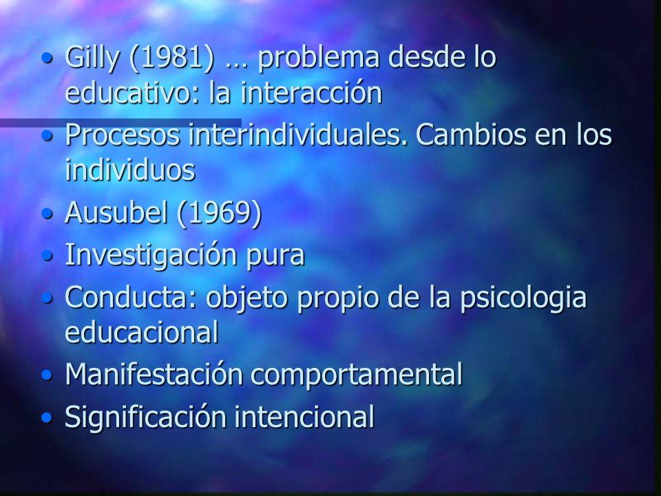 Gilly (1981) … problema desde lo educativo: la interacciónGilly (1981) … problema desde lo educativo: la interacción Procesos interindividuales. Cambi