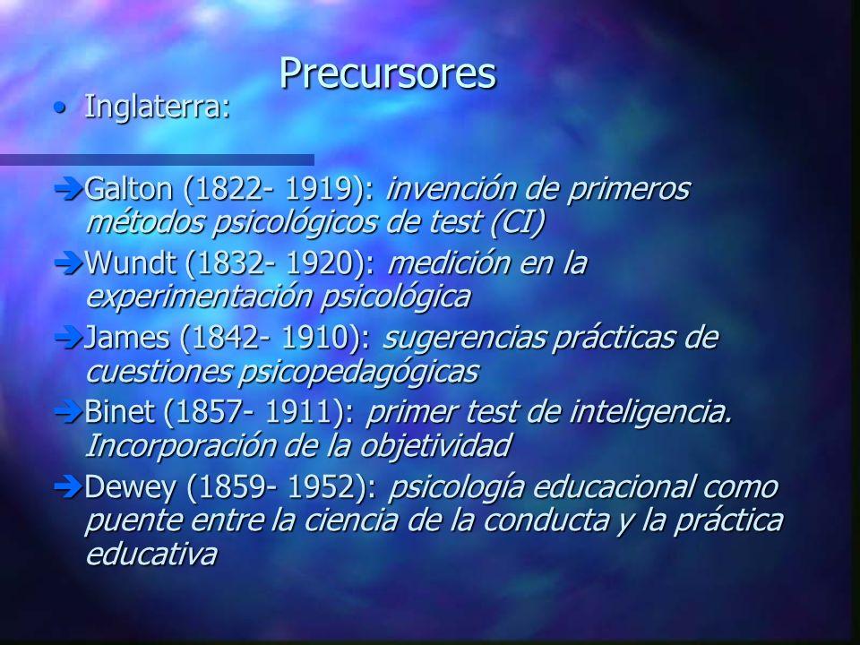 Precursores Inglaterra:Inglaterra: Galton (1822- 1919): invención de primeros métodos psicológicos de test (CI) Galton (1822- 1919): invención de prim