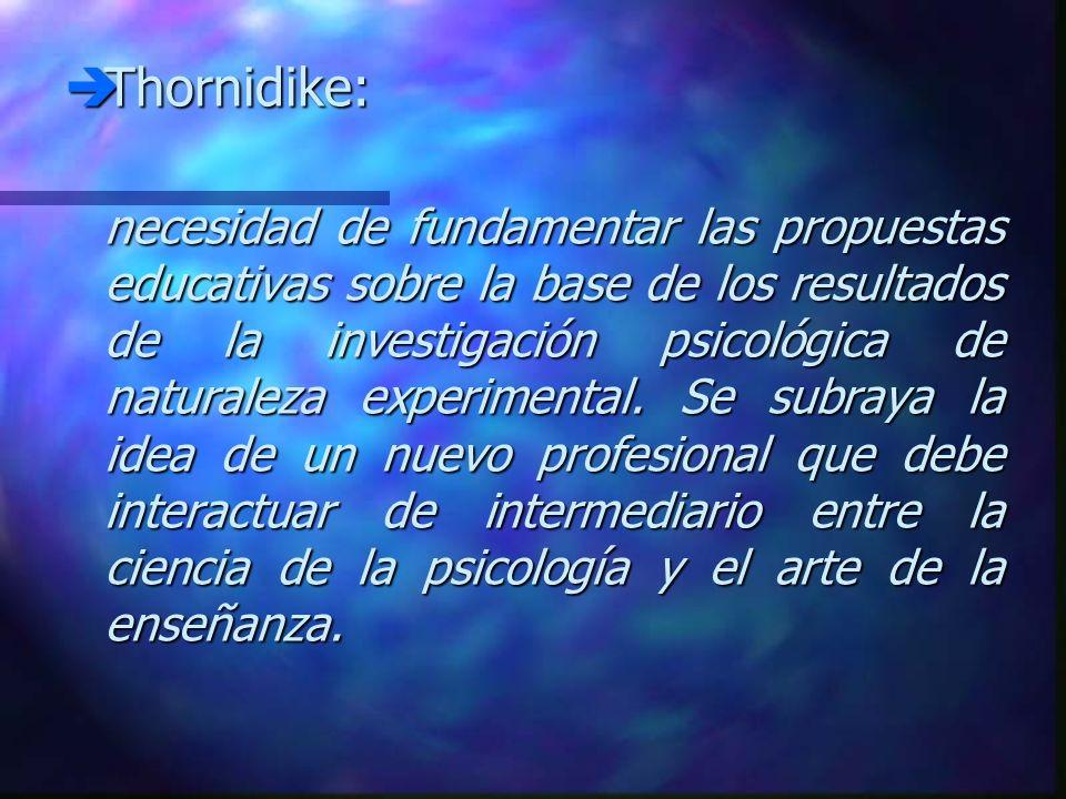 Thornidike: Thornidike: necesidad de fundamentar las propuestas educativas sobre la base de los resultados de la investigación psicológica de naturale
