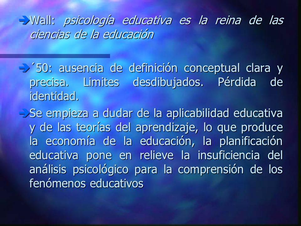 Wall: psicología educativa es la reina de las ciencias de la educación Wall: psicología educativa es la reina de las ciencias de la educación ´50: aus