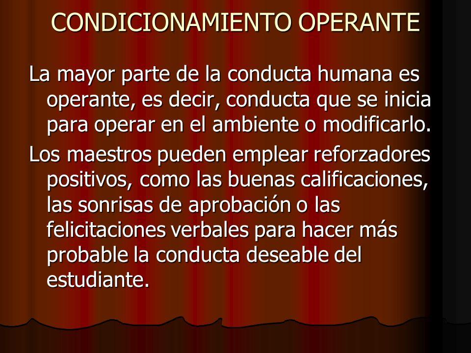 CONDICIONAMIENTO OPERANTE La mayor parte de la conducta humana es operante, es decir, conducta que se inicia para operar en el ambiente o modificarlo.