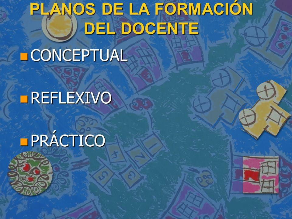 PLANOS DE LA FORMACIÓN DEL DOCENTE n CONCEPTUAL n REFLEXIVO n PRÁCTICO
