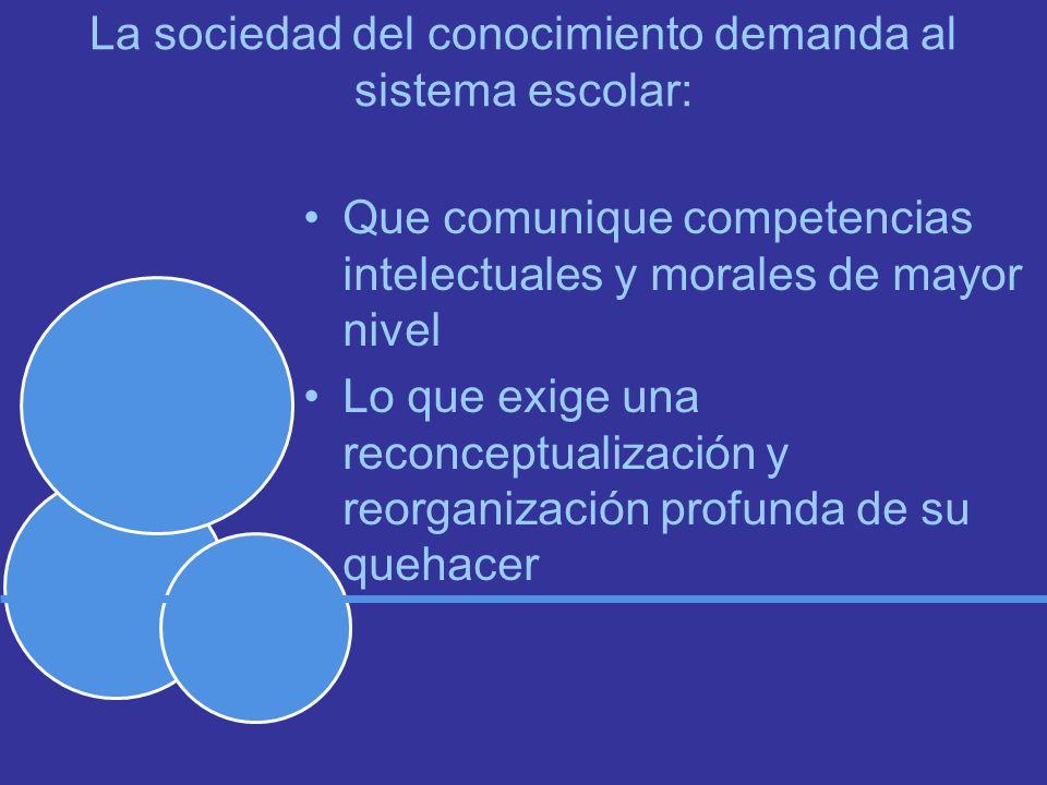 La sociedad del conocimiento demanda al sistema escolar: Que comunique competencias intelectuales y morales de mayor nivel Lo que exige una reconceptualización y reorganización profunda de su quehacer
