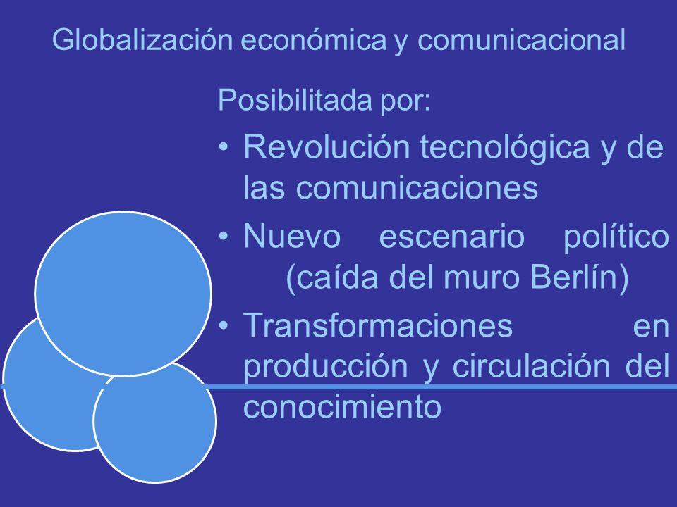 Globalización económica y comunicacional Posibilitada por: Revolución tecnológica y de las comunicaciones Nuevo escenario político (caída del muro Berlín) Transformaciones en producción y circulación del conocimiento