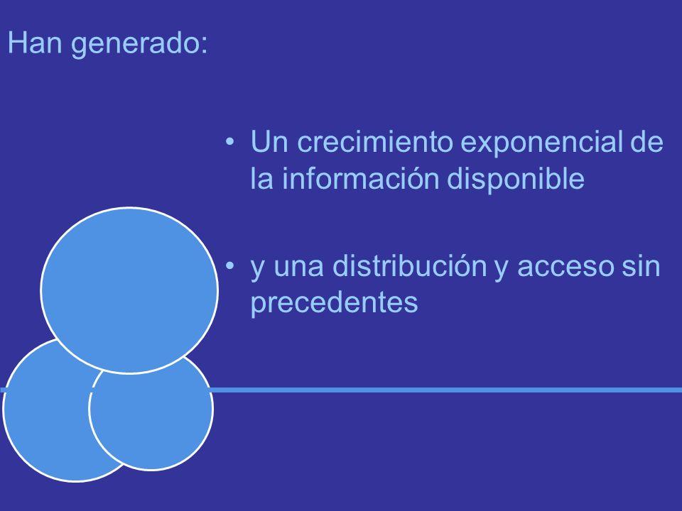 Han generado: Un crecimiento exponencial de la información disponible y una distribución y acceso sin precedentes
