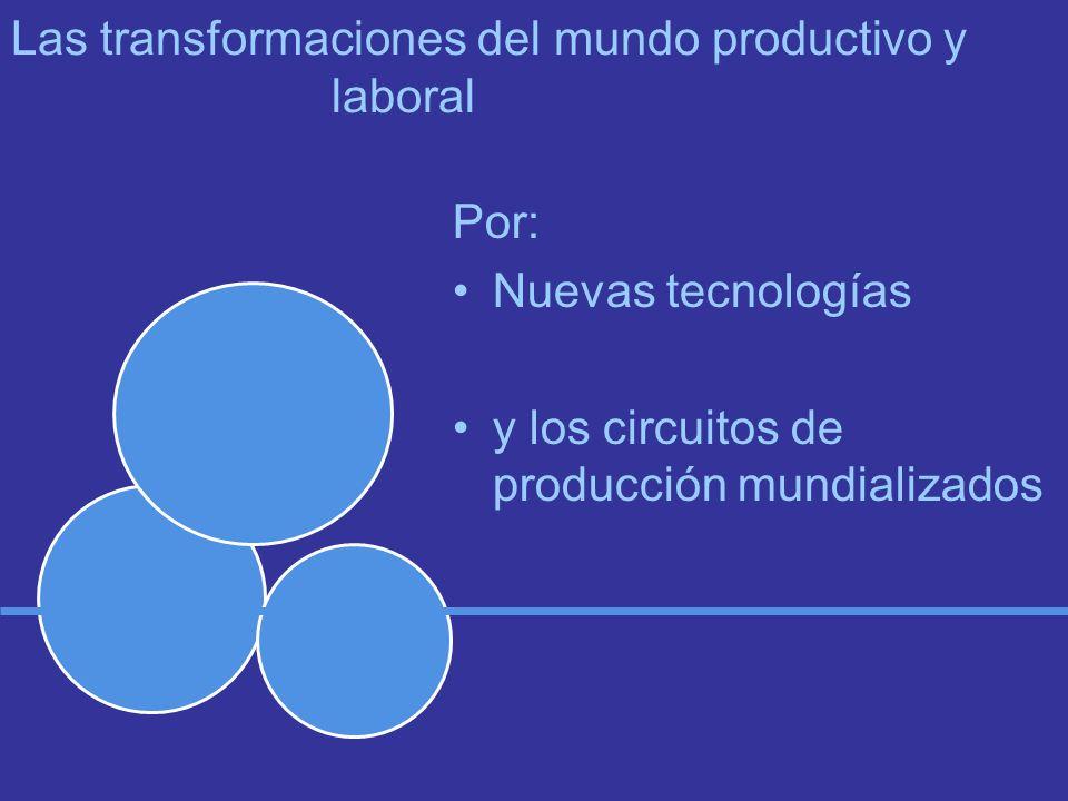Las transformaciones del mundo productivo y laboral Por: Nuevas tecnologías y los circuitos de producción mundializados