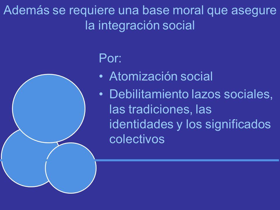 Además se requiere una base moral que asegure la integración social Por: Atomización social Debilitamiento lazos sociales, las tradiciones, las identidades y los significados colectivos